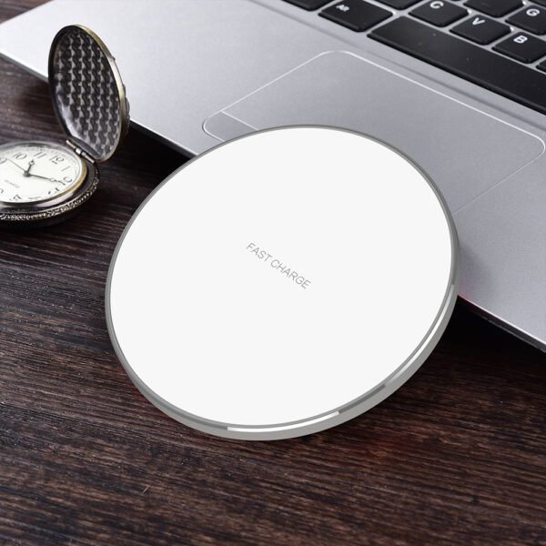Qi Wireless Charging Pad White and Silver