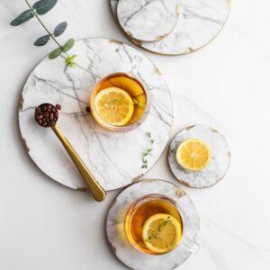 Luxurious Marble & Gold Platter